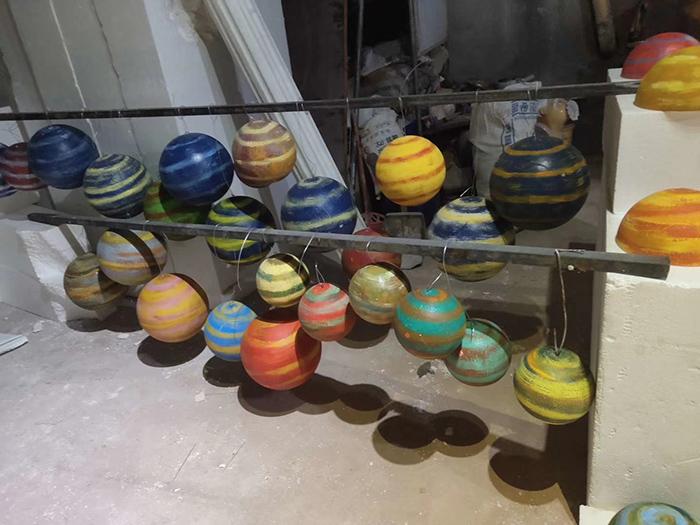 仿真五星球体泡沫雕塑制作